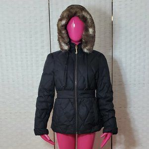 Juicy Couture Puffer Jacket With Faux Fur Hood